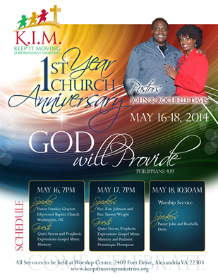Flyer design for church anniversary