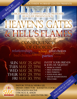 Heavens Gates Hells Flames flyer design